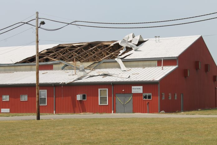 storm damage to a barn