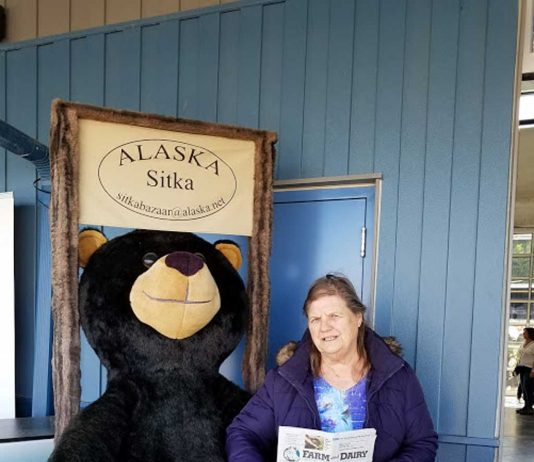 Sandra Kalas in Alaska with her Farm and Dairy.