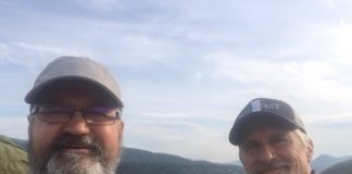 Chuck Defer and his hiking partner Goat