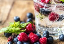 water infused with berries