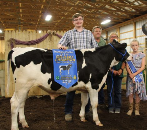 Bryce Arbaugh's grand champion dairy feeder sold to Parker Insurance Agency LLC and Parker Farms for $2 a pound.
