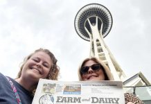 Stephanie Cope, of Alliance, Ohio, (right) and daughter, Sam Muniz, of Lisbon, Ohio, took Farm and Dairy to Seattle. They are pictured in front of the Space Needle, the 1962 World's Fair legacy and Seattle's most iconic landmark.