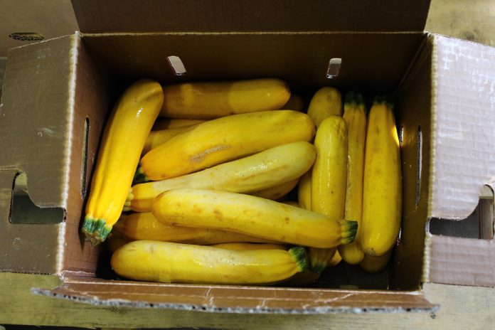 yellow zucchini in a box