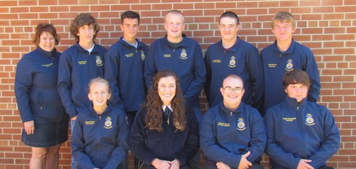 Loudonville FFA Officer team with State FFA President, Holly McClay