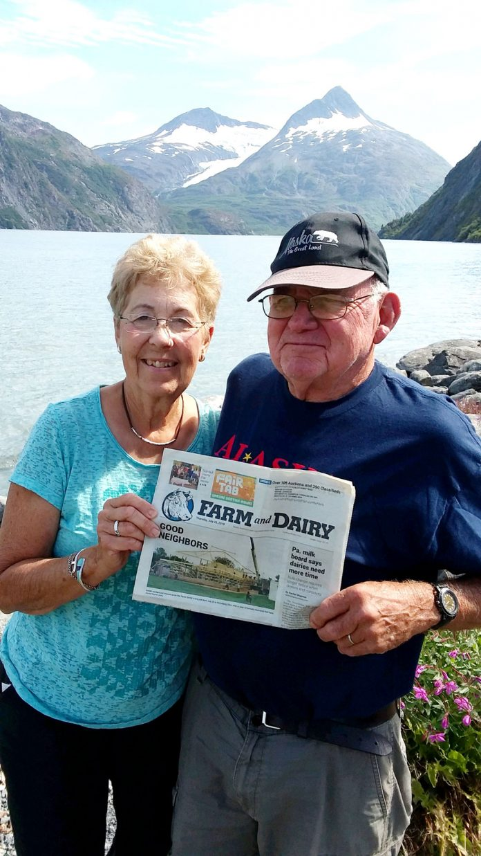 Wayne and Marilyn Johnson, of Bristolville, Ohio, took a two-week cruise to Alaska with Farm and Dairy in August. They visited most of the port cities. This scenic picture of glaciers is in front of Portage Lake at the end of Turnagain Arms Bay southeast of Anchorage.