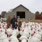 The Kisamore family and their turkeys.