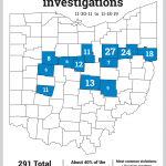 Map of counties with the highest number of investigations.