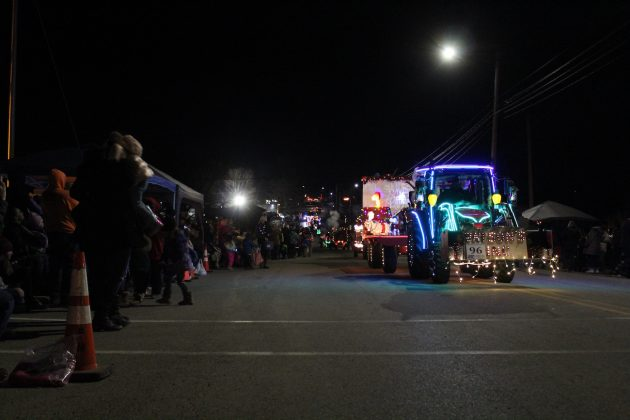 lighted tractor parade crowd