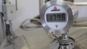 temperature reading on pasteurizer
