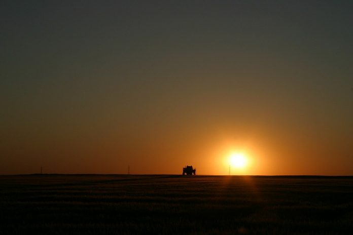 sunset on a tractor