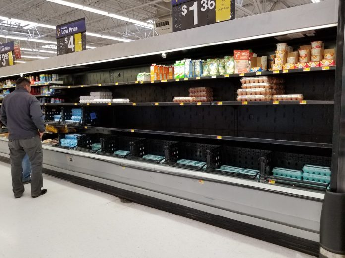 empty shelves in egg section
