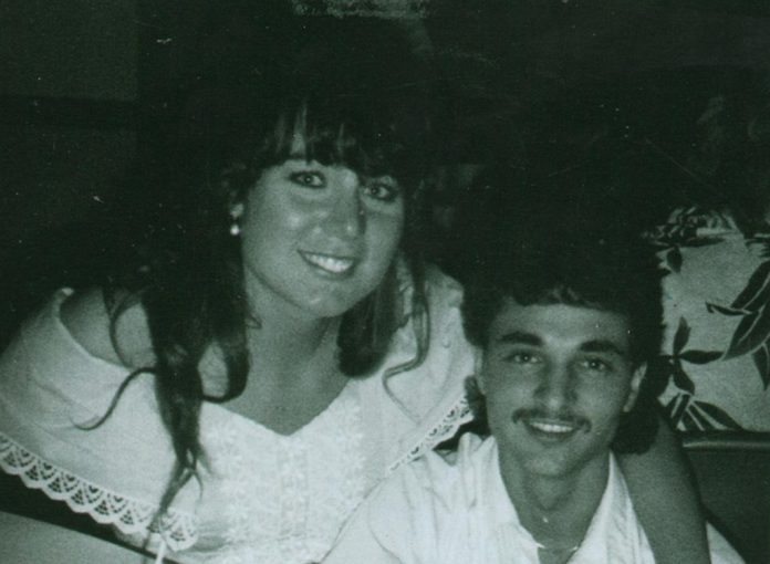 Kymberly Foster Seabolt and her husband in 1992.