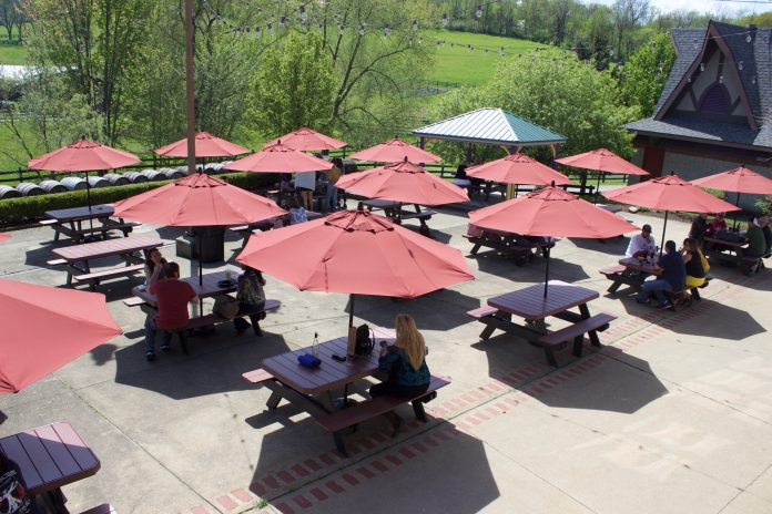 People sit at picnic tables under umbrellas.