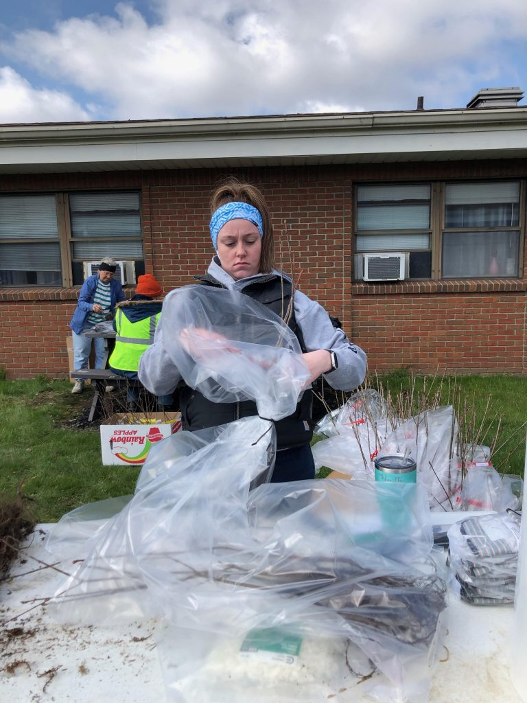 A woman stands at a table covered in plastic bags and tree seedlings.