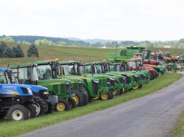 tractors in a line