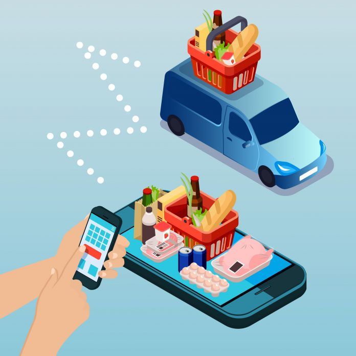 Hands hold a phone and place orders for food, a van drives with a basket of food on top, a variety of food sits on top of a cell phone.