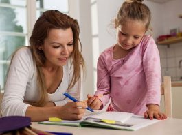 woman homeschooling child