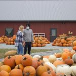 A woman and a man look at pumpkins outside of a barn.