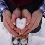 engagement ring in a snowball
