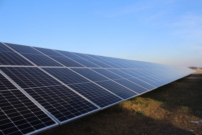 solar panels in an array in Ohio in the winter