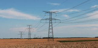 High Tension Power Lines Over Field