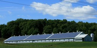 solar panels mounted on the roof of a barn
