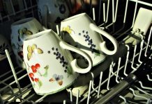 mugs in a dishwasher