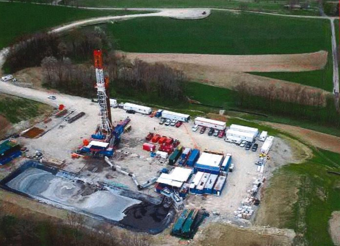 aeriel view of a well pad