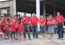 The Dotterer family addresses the crowd at the 2021 Dairy Twilight Tour.